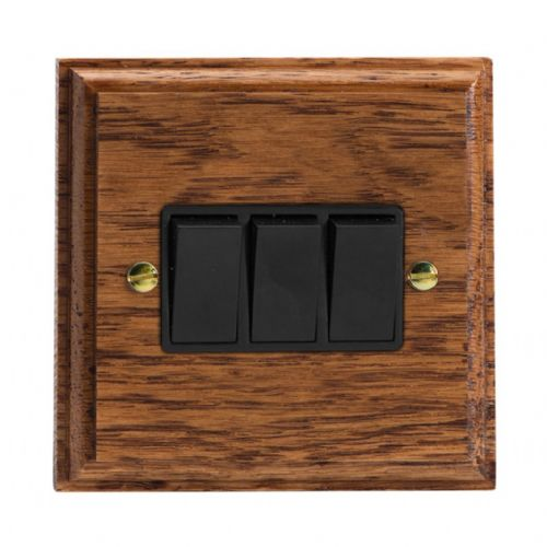 Varilight XK3MOB Kilnwood Medium Oak 3 Gang 10A 1 or 2 Way Rocker Light Switch